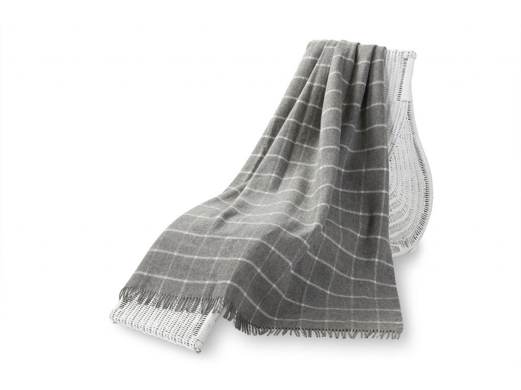 Vlněný pléd, kostkovaný šedý 155x200 cm (5)