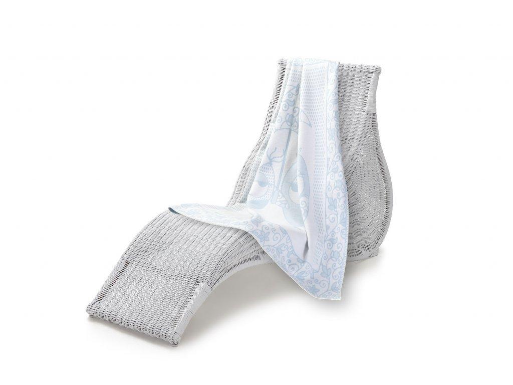 Jednostranná deka dětská bavlna, 100x140 cm, modrá sova (6)