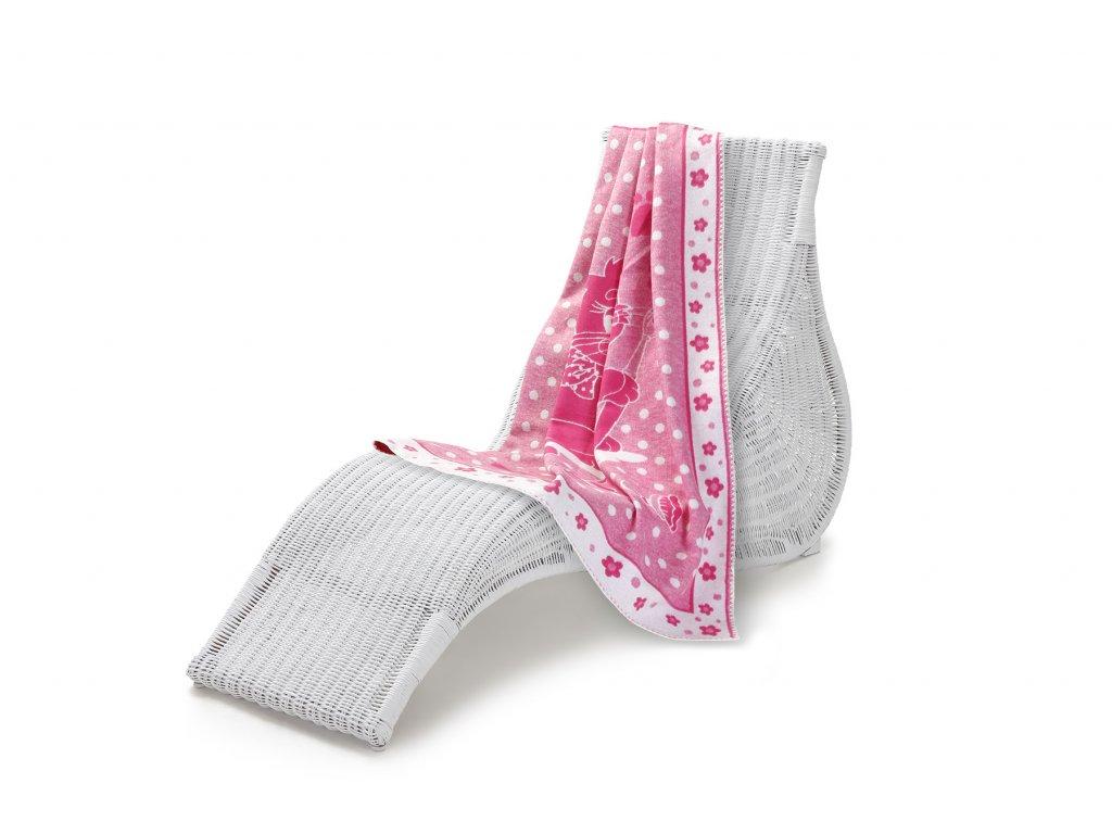 Jednostranná deka dětská bavlna, 100x140 cm, růžová kočka (5)