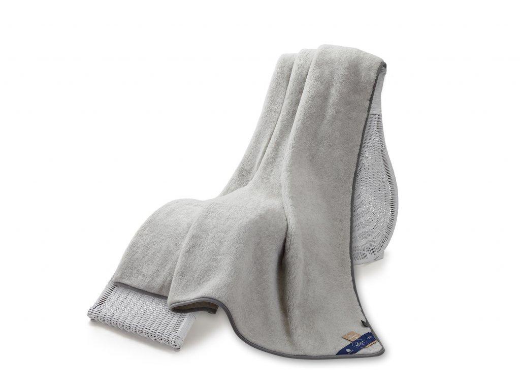 Jednostranná deka, australian merino 220x200 cm 600g šedá (5)