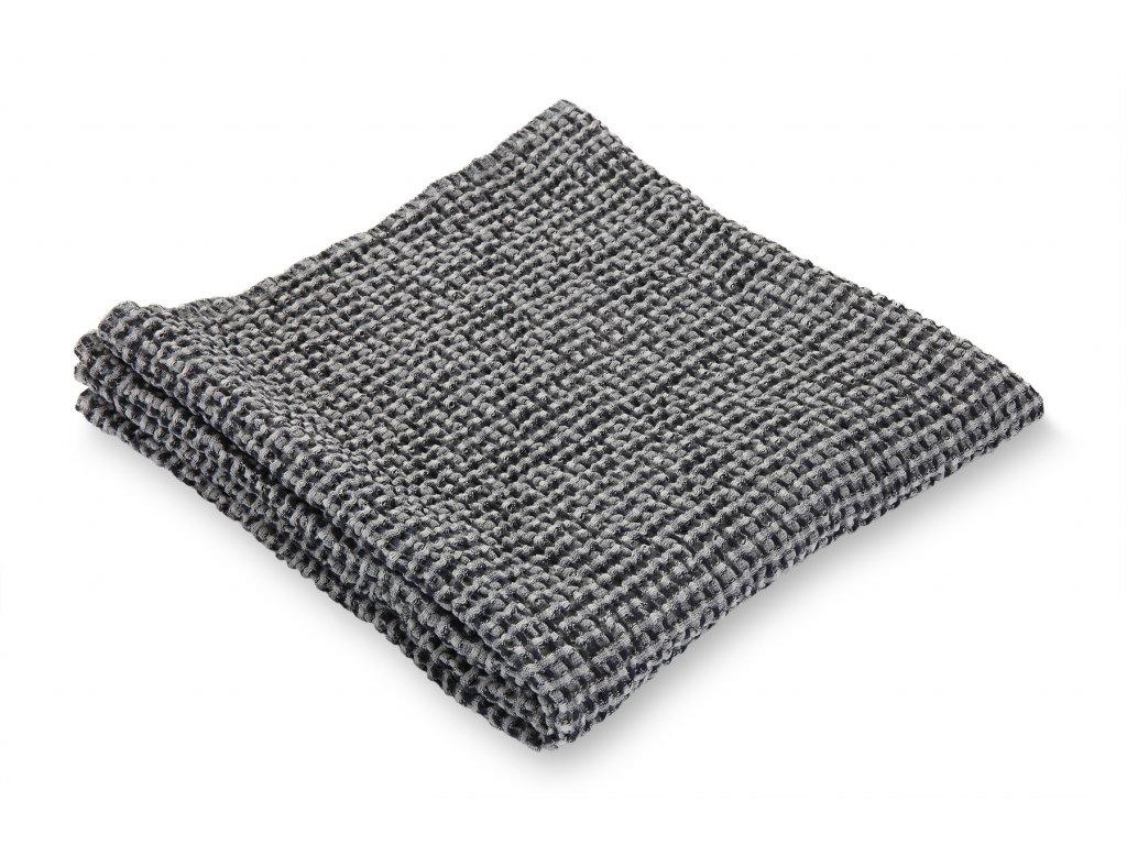 Jemný waflový ručník, černý