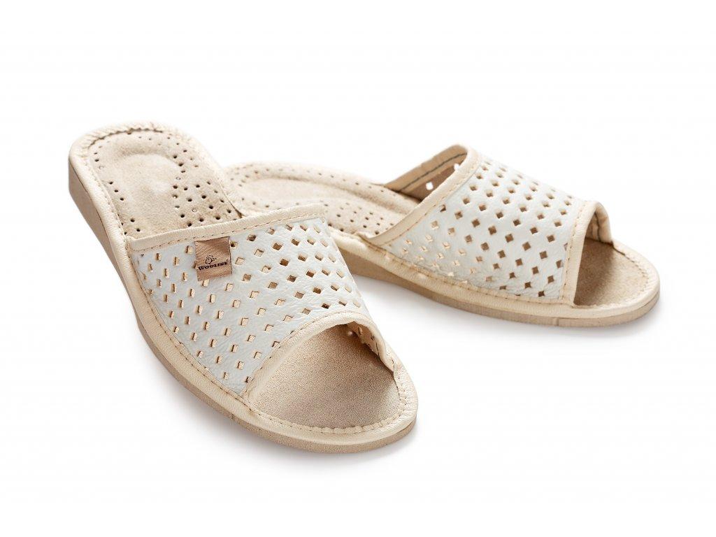 Pantofle dámské letní bílé s otevřenou špičkou (2)
