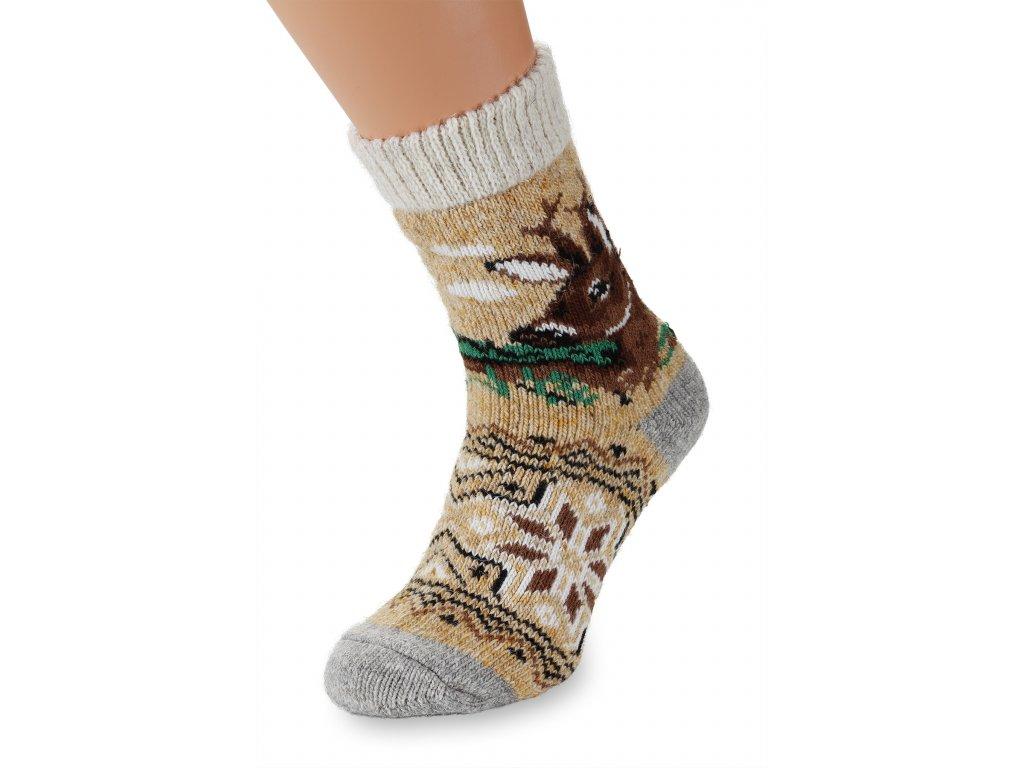 Vlněné ponožky s motivem srnce béžové (2)