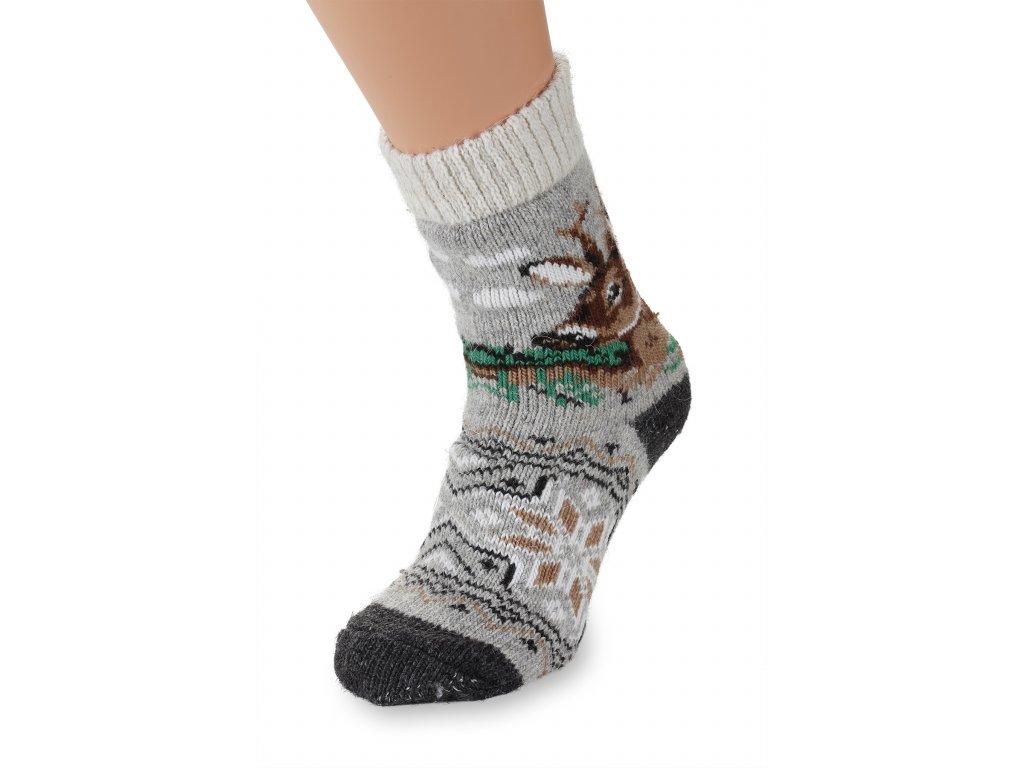 Vlněné ponožky 100% vlna šedé s motivem srnce (3)