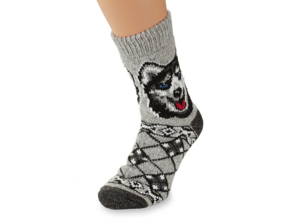 Vlněné ponožky 100% vlna, Husky šedý (2)