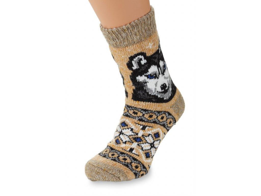 Vlněné ponožky 100% vlna, Husky béžový (2)