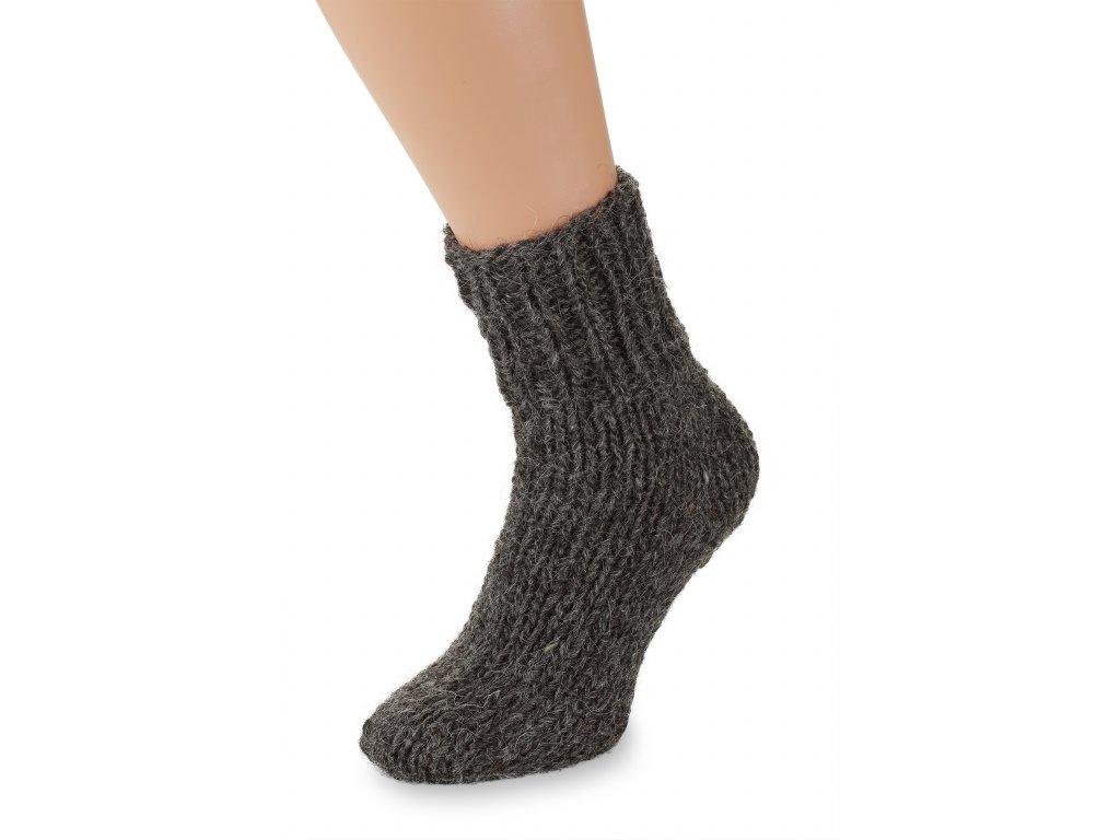 Ručně pletené ponožky 100% ovčí vlna černé (2)