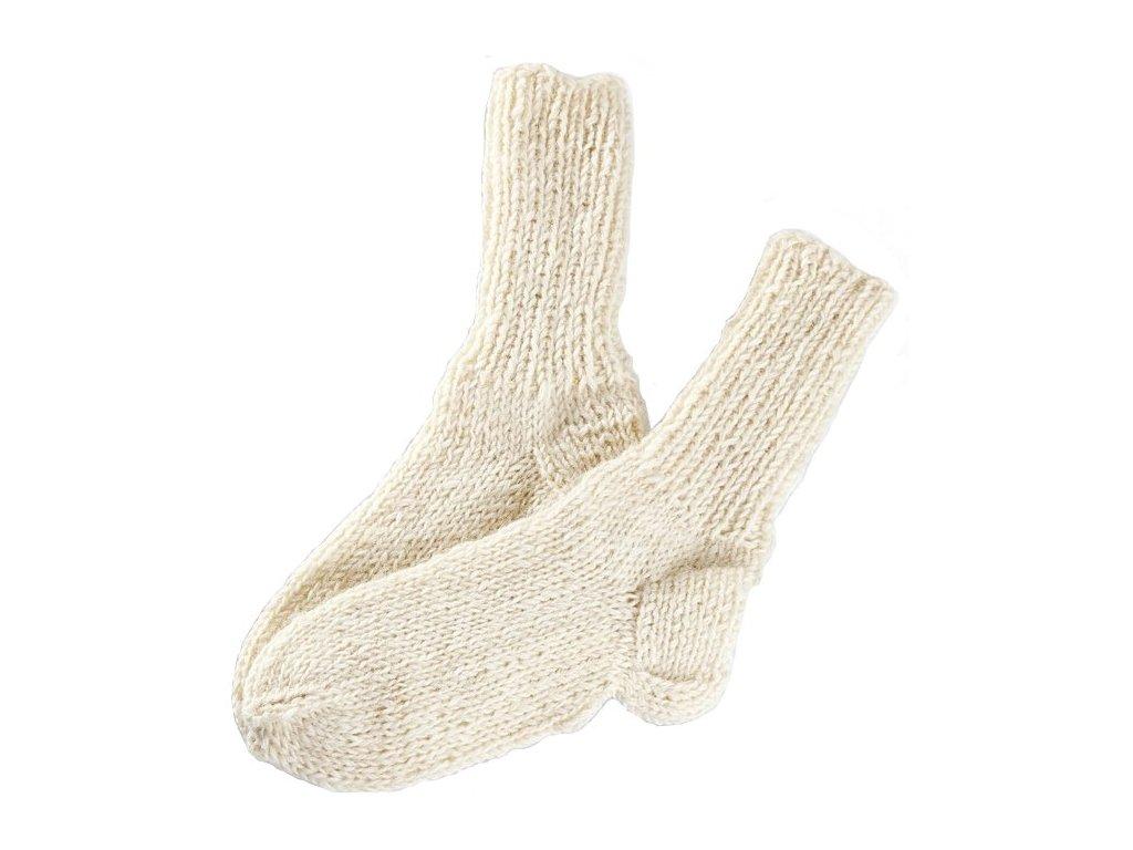 351b97a1c0f Ručně pletené ponožky 100% ovčí vlna krémová - Vlněné zboží