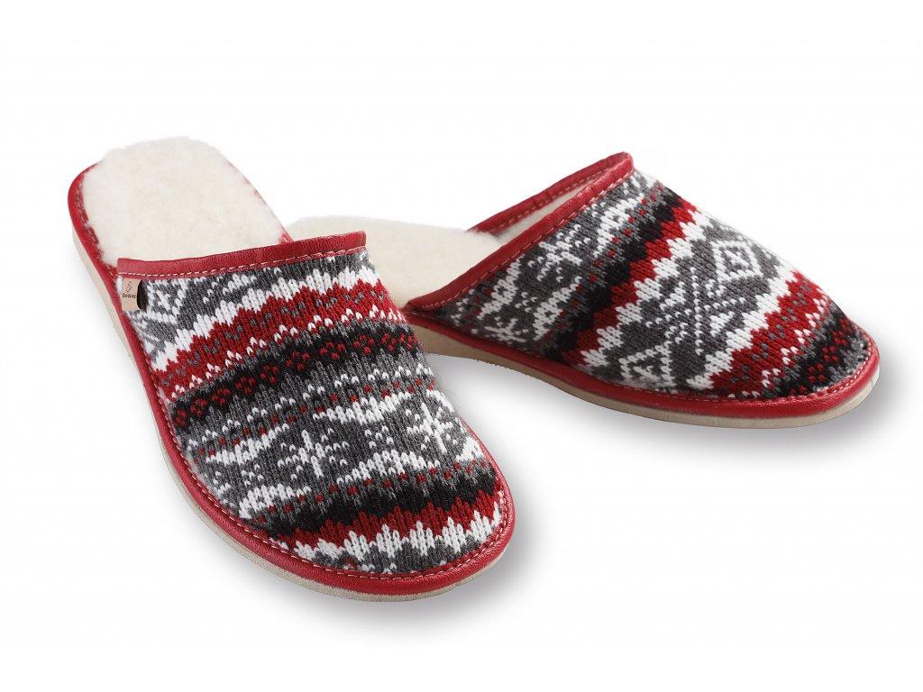 Pantofle podpatek sedocervena (4)