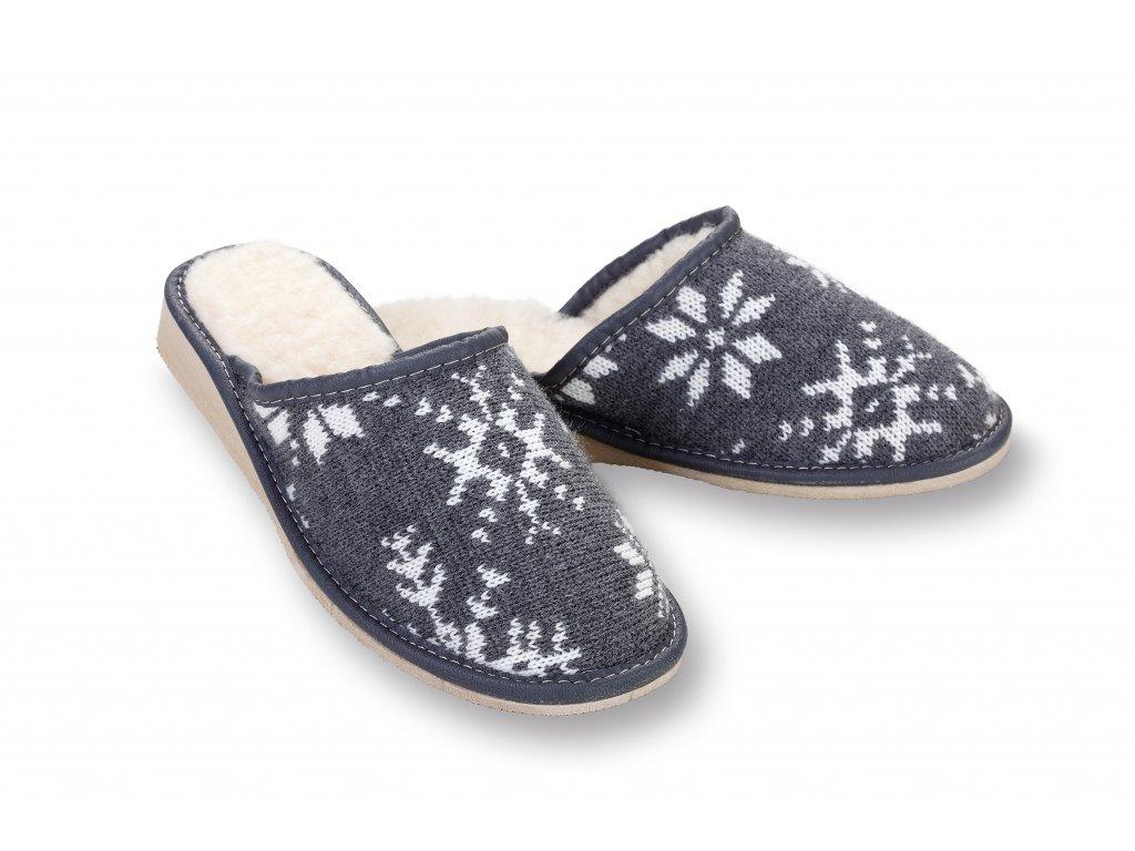 Pantofle podpatek sede s vločkou (4)