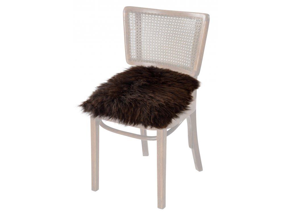Podsedák na židle z ovčích kůží hnědý