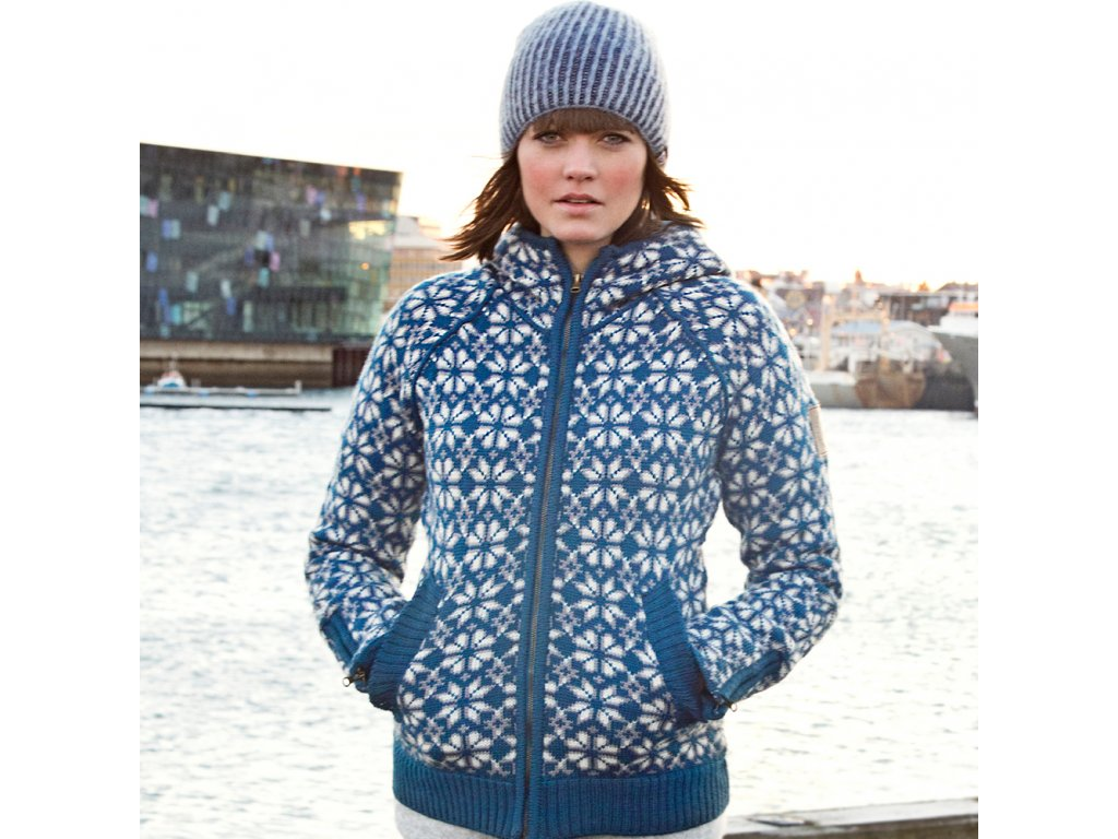 d970b3bf20c Svetr HELGA dámský modrý 100% norská vlna - Vlněné zboží