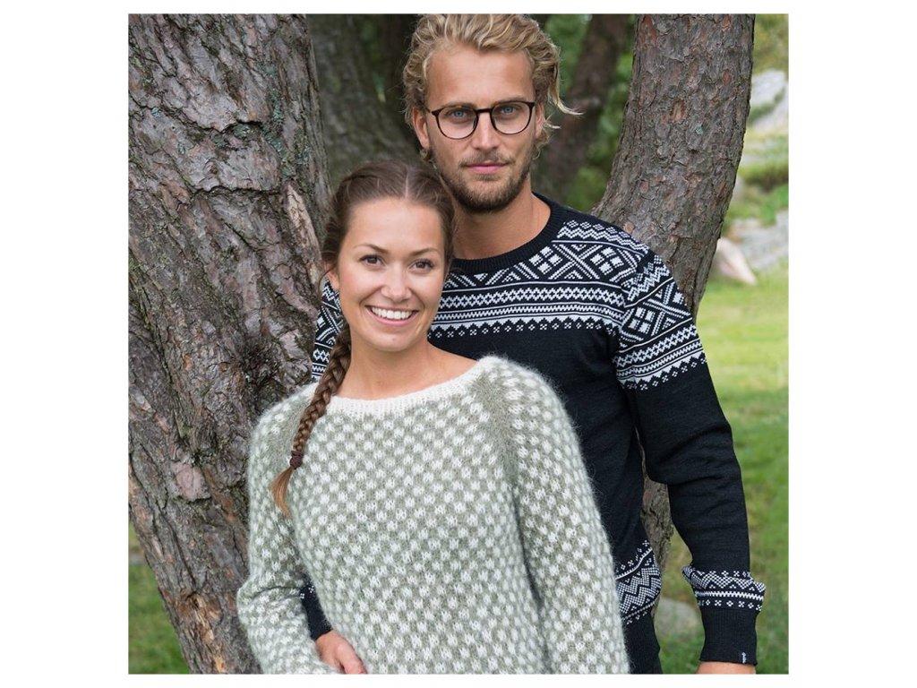 393e7ff1c7b Norský svetr HOVDEN pánský černý 100% merino vlna - Vlněné zboží