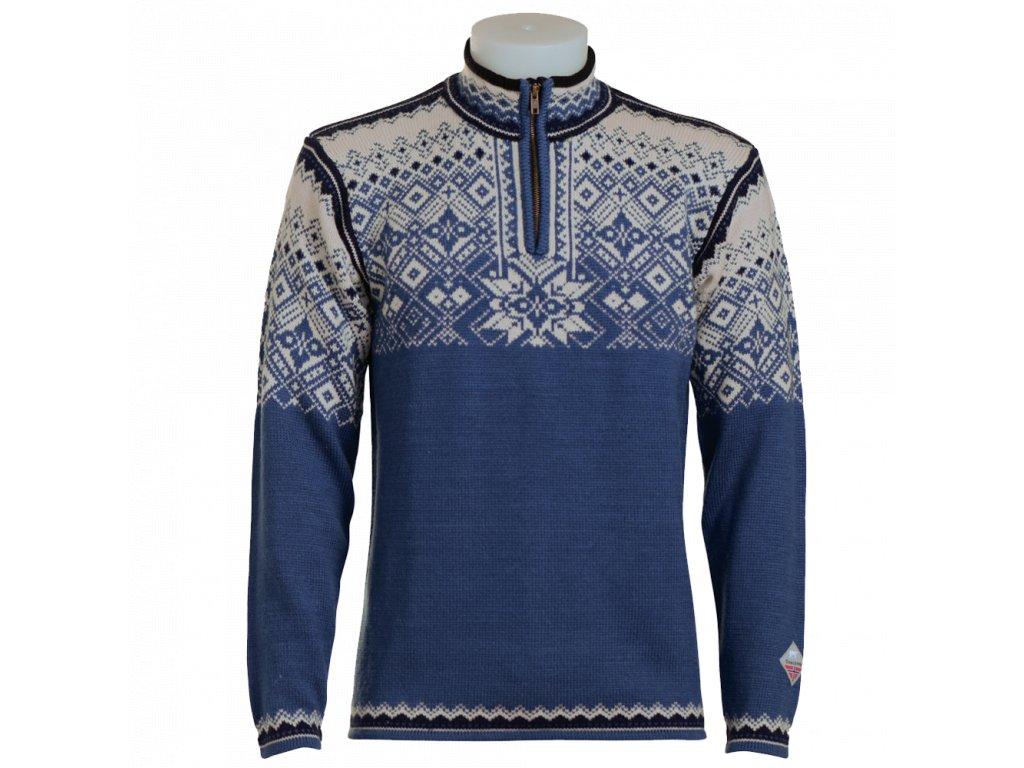 modrý teplý svetr norlender
