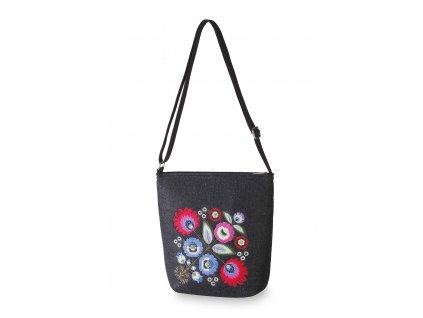 2 filcova kabelka cerna barevny ornament kvety (4)