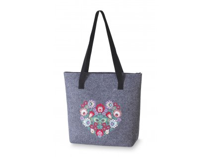 8 filcová kabelka velká šedá barevné srdce (4)