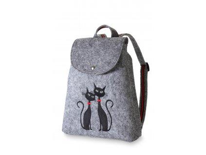 9 filcový batůžek šedý černé kočky (4)