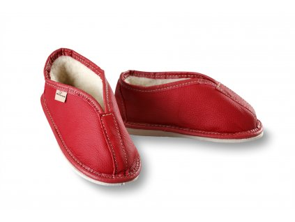 Papuče děti kozene cervene
