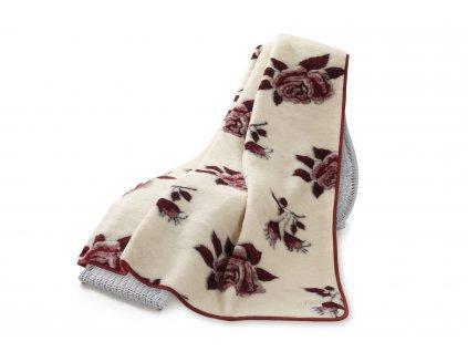 Vlněná deka Hit Jacquard, 200x220 cm, červená růže (5)