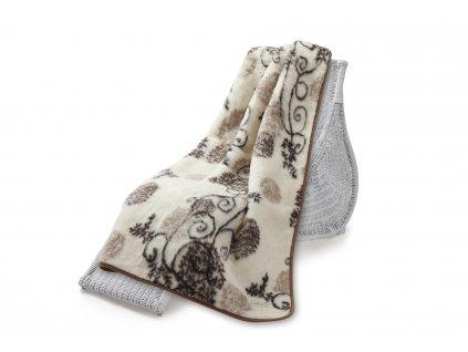 Vlněná deka oboustr. 135x200 cm, Quilt, bodlák.