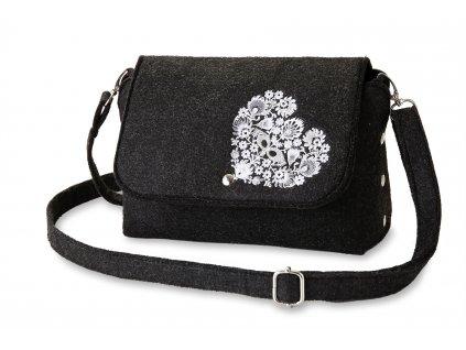 11 filcová kabelka přes rameno černá, bílé srdce