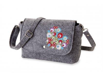 12 filcová kabelka přes rameno šedá, barevné srdce