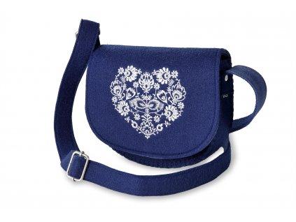 13 filcová kabelka přes rameno modrá, bílé srdce (2)