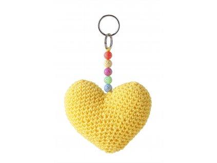 háčkované srdce žluté