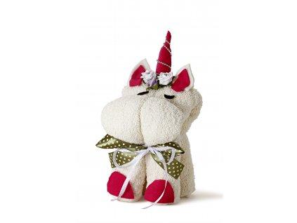 Jednorožec z ručníků, krémová barva (2)