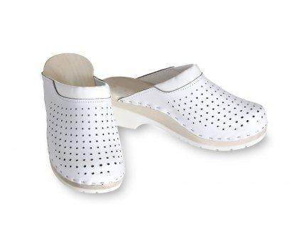 Ortopedické dřeváky na klínku bílé, děrované  zdravotní obuv!