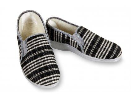 Domácí kotníkové pantofle pro seniory s ovčí vlnou, černobílé káro