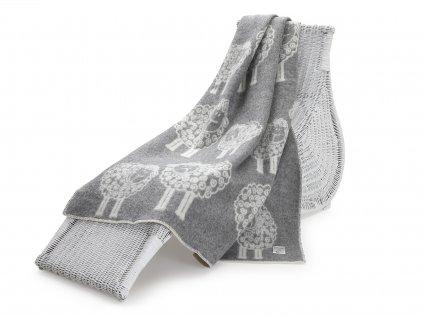 vlněná deka beránek šedý 1