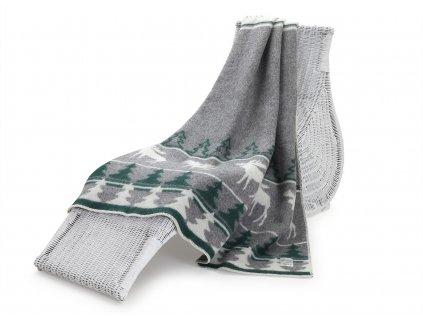 vlněná deka sob zelenobílý 1