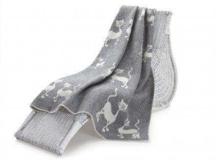 vlněná deka kočky šedé 1