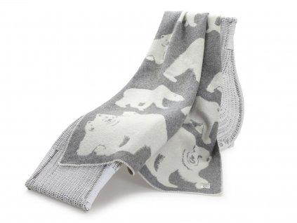 vlněná deka lední medvěd šedý 1