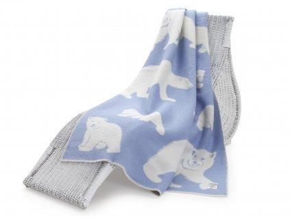 vlněná deka lední medvěd modrý 1