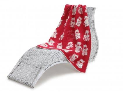 vlněná deka pro děti medvídek červený 1