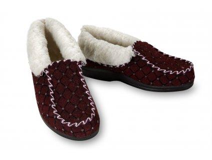Dámské mokasínové boty s imitací kamínků, vínové 1