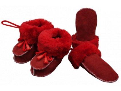 Kožené botičky a rukavičky - set, červený