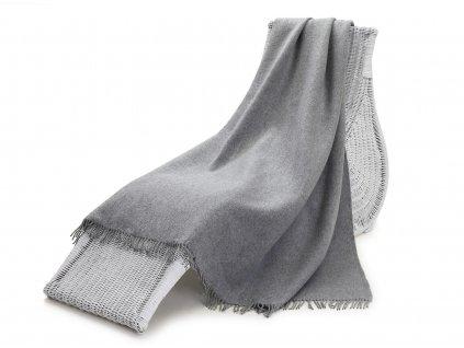 Vlněný pléd, šedý 155x200 cm (4)