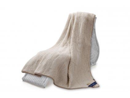 Jednostranná deka, australian merino 220x200 cm 600g béžová c