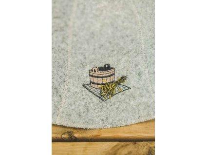 Saunová čepice, motiv vědro