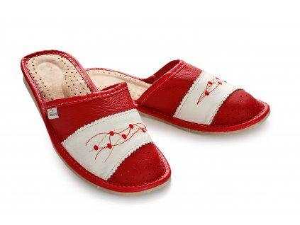 Pantofle dámské letní červené s uzavřenou špičkou (2)