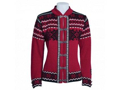 71a073266e3 vlněný svetr norsko · Dámský svetr VOSS s háčky červený 100% norská vlna