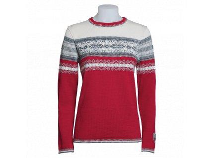 norsky damsky svetr norlender amalie cerveny 100 merino vlna