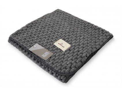 Vlněná deka, Bucle 75 x 100 cm, světle šedá (2)