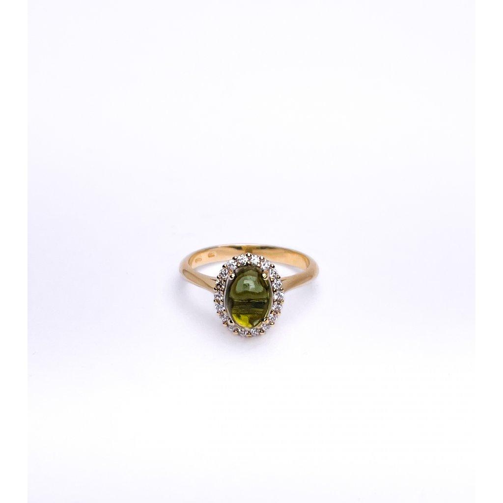 Zlatý prsten s vltavínem a zirkony
