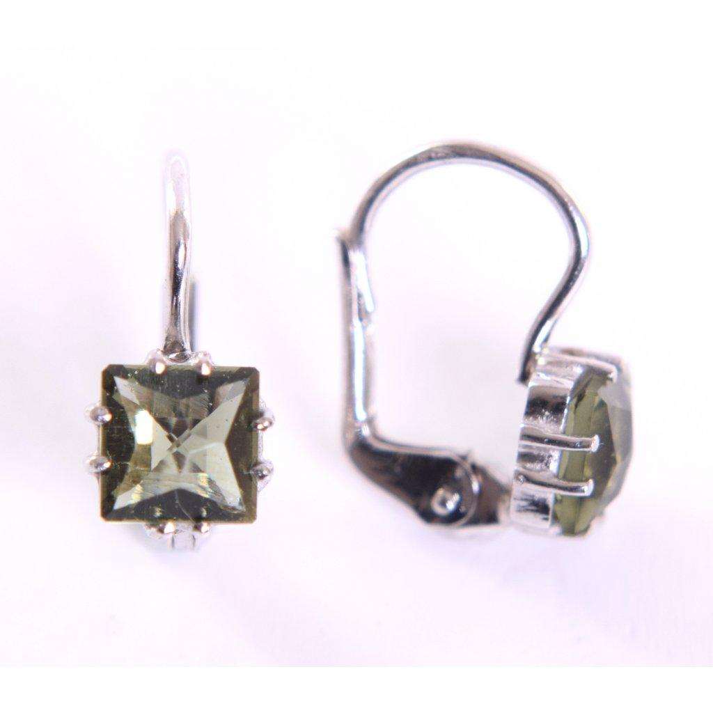 Stříbrné naušnice s vltavínem - čtverec