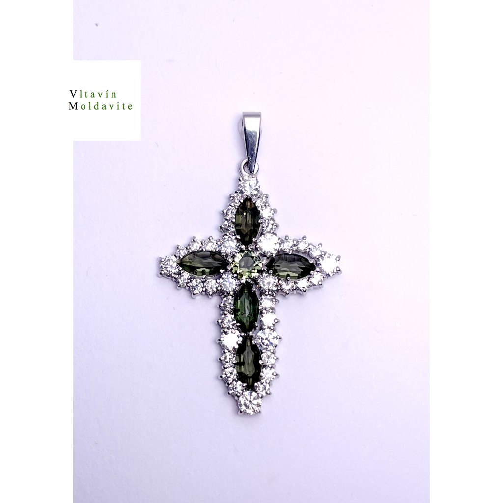 Stříbrný přívěšek kříž s broušenými vltavíny a zirkony