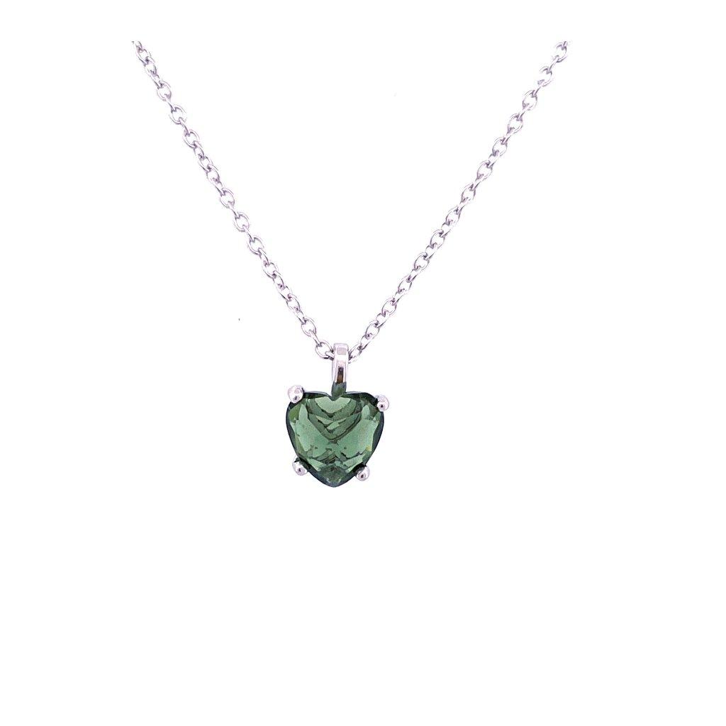 Zlatý náhrdelník s broušenými vltavíny.